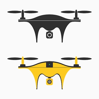 Drone-pictogram. set quadcopter met camera voor fotografie of video-opname. vector illustratie.