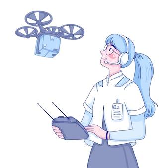 Drone piloot meisje karakter cartoon afbeelding.