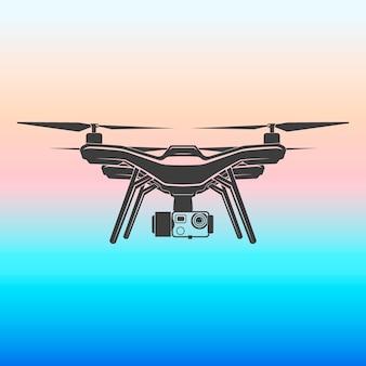 Drone quadrocopter draadloze vliegen camera vector teken