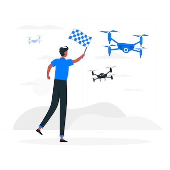 Drone race concept illustratie