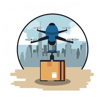 Drone vliegt met doos