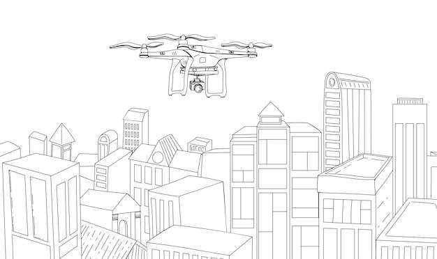 Drone vliegt over de lijntekening van de stad. het concept van het introduceren van technologie in het leven van mensen, toezicht en intimidatie, vectorillustratie