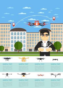 Drone vliegtuigen website sjabloon met vliegende robot