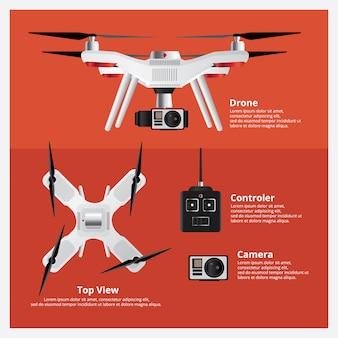 Drone voorkant en bovenaanzicht met controller en camera vectorillustratie