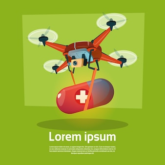 Drone with pill medicines delivery medical care