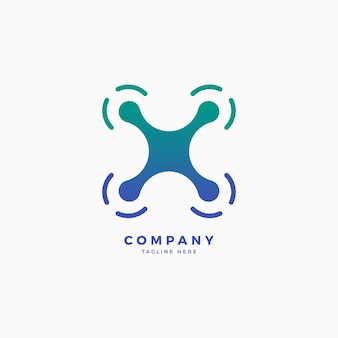 Drone x brief logo ontwerpsjabloon