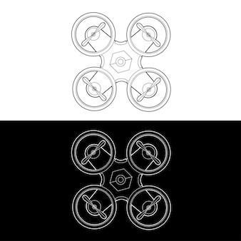 Drones icon set. grafische drones zwart-wit omtrek omtrek beroerte illustreren