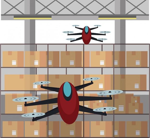 Drones in magazijn cartoon