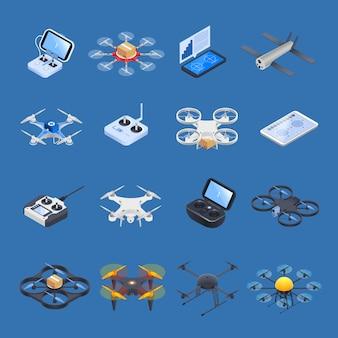 Drones isometrische pictogrammen