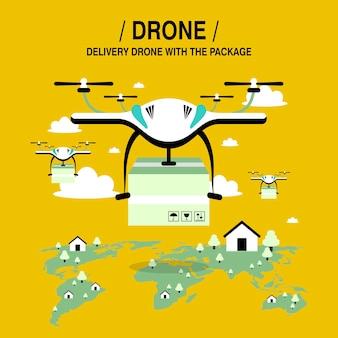 Drones-pakketbezorging in platte ontwerpstijl