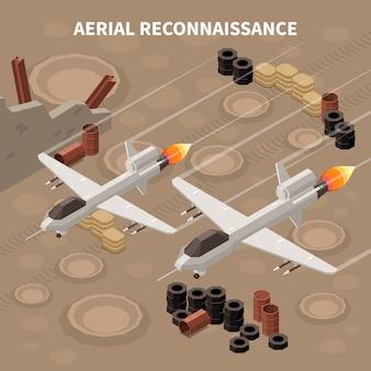 Drones quadrocopters isometrische compositie met afbeeldingen van vliegende militaire vliegtuigen die verkenningen en verschillende grondobjecten uitvoeren