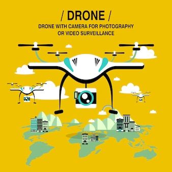 Drones-screening en -bewaking in platte ontwerpstijl