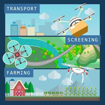 Drones-toepassingenconcept in platte ontwerpstijl