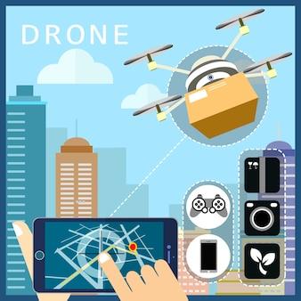 Drones verzending concept in platte ontwerpstijl