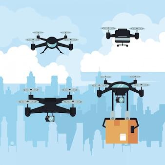 Drones vliegen met doos in de stad