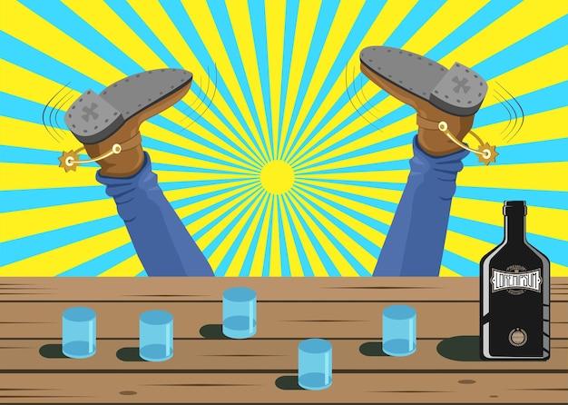 Dronken cowboy viel uit de bar. vector cartoon achtergrondafbeelding