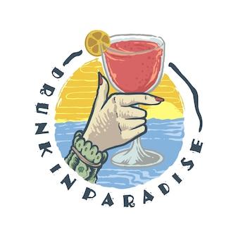 Dronken in paradise illustratie