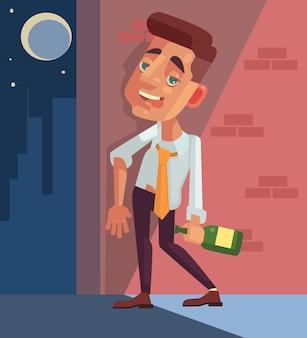 Dronken kantoormedewerker zakenman karakter.