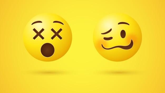 Dronken woozy emoji-gezicht met ongelijke ogen en golvende mond of 3d-duizelige emoticon