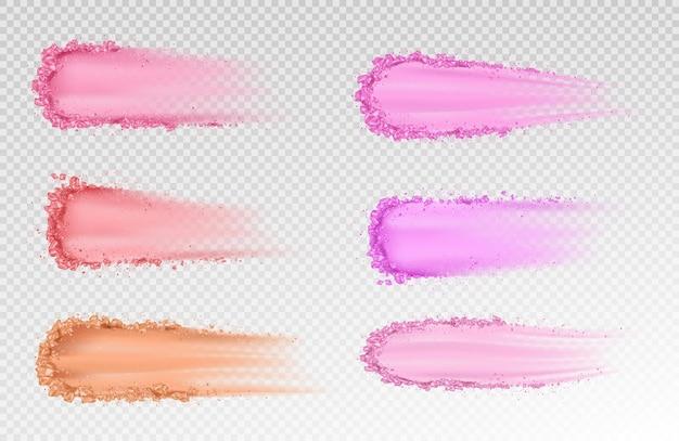 Droog poeder huid foundation uitstrijkjes oogschaduw penseelstreken
