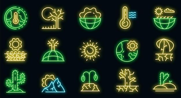 Droogte pictogrammen instellen. overzicht set van droogte vector iconen neon kleur op zwart