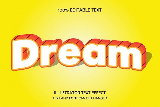 Droom, 3d bewerkbaar teksteffect moderne boogschaduwstijl