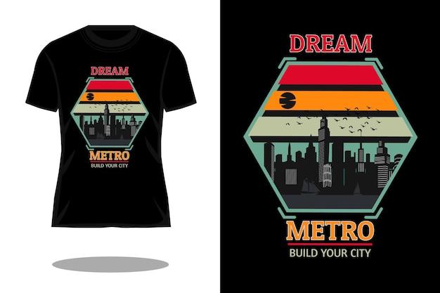Droom metro silhouet retro t-shirt ontwerp