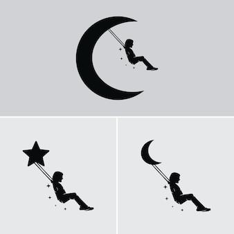 Droom van een kind dat schommelt op de maan en de sterren