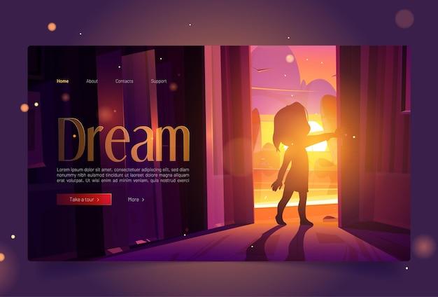 Droombanner met meisje open deur bij zonsondergang Gratis Vector