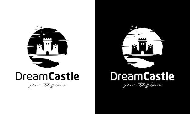 Droomkasteel logo illustratie ontwerpsjabloon inspiratie