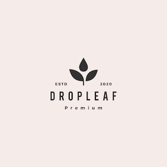 Drop leaf logo hipster retro vintage pictogram