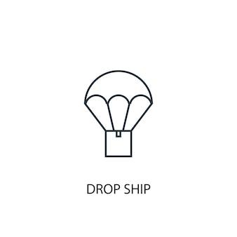 Drop schip concept lijn pictogram. eenvoudige elementenillustratie. drop schip overzichtssymbool conceptontwerp. kan worden gebruikt voor web- en mobiele ui/ux