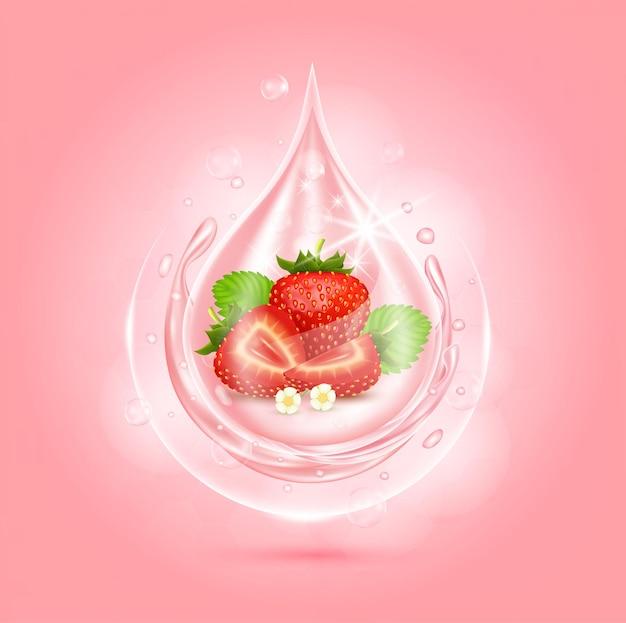 Drop serum aardbei vitaminen en collageen organisch anti-aging serum fruitzuur product