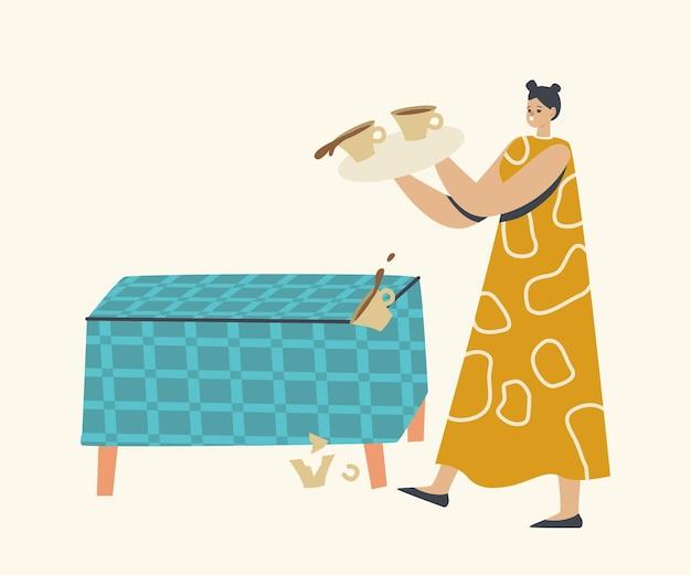 Drop tray voor vrouwelijk karakter met koffiekopjes