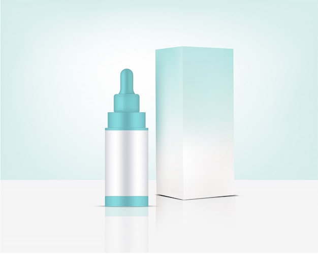 Dropper bottle mockup realistic organic cosmetic and box for skincare product