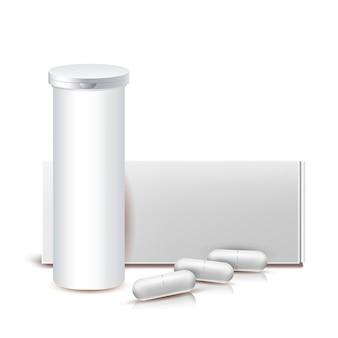 Drug capsules lege container en pakket vector