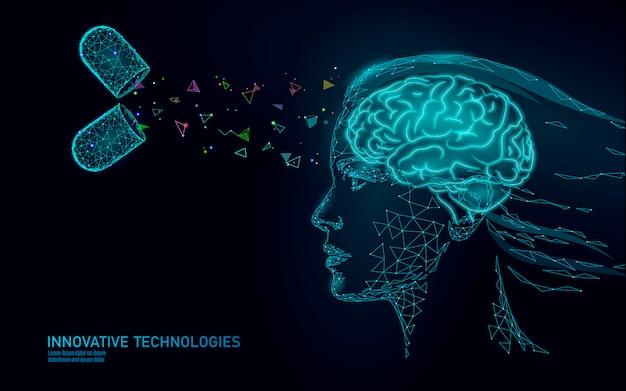 Drug nootropic menselijk vermogen stimulerende slimme mentale gezondheid. geneeskunde cognitieve revalidatie bij de ziekte van alzheimer en dementie patiënt vectorillustratie