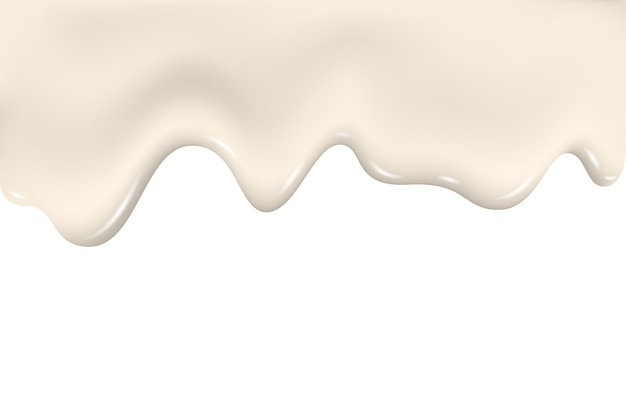 Druipende melkroom, stromende vloeistof, yoghurttextuur.