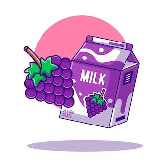 Druiven- en melkbox cartoon illustraties voor wereldmelkdag