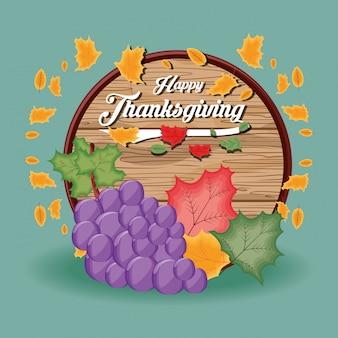 Druiven met kader van thanksgiving day