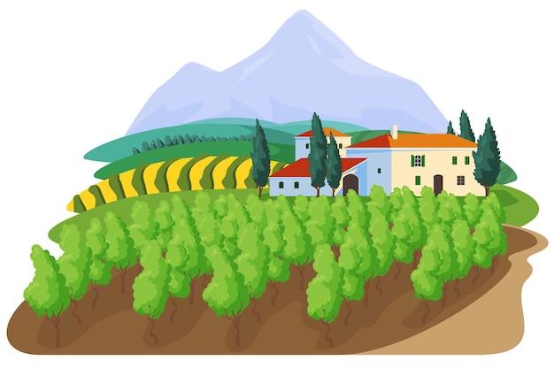 Druiven op de wijngaard boerderij teken label concept druivenproductie prachtig landelijk landschap met hacie...
