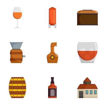Druivenplantage iconen set, cartoon stijl