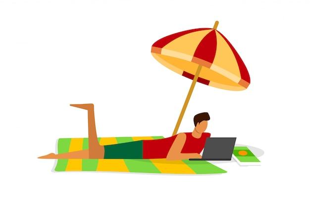 Drukke jonge man freelancer op afstand werken op laptop