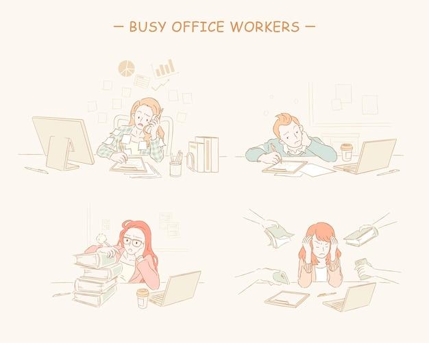 Drukke kantoorpersoneel instellen lijnstijl