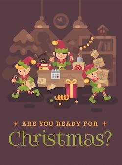 Drukke kerstman kantoor met elf werknemers. de groetkaart van de kerstmis vlakke illustratie