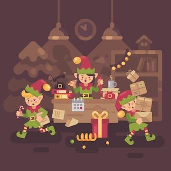 Drukke kerstman kantoor