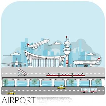 Drukke luchthaventerminal met vliegtuig