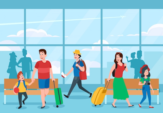 Drukke luchthaventerminal. zakenreizigers, gezinsvakanties reizen en reiziger wachten op luchthavens terminals illustratie