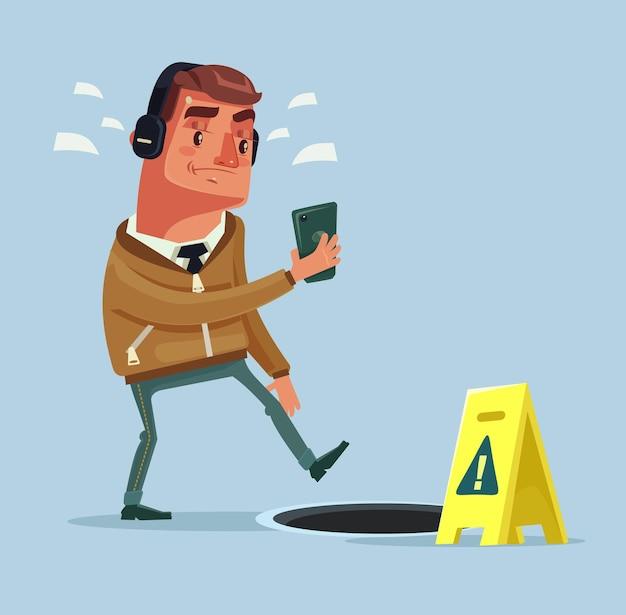 Drukke man personage op straat luisteren naar muziek door smartphone en zag geen open mangat. platte cartoon afbeelding