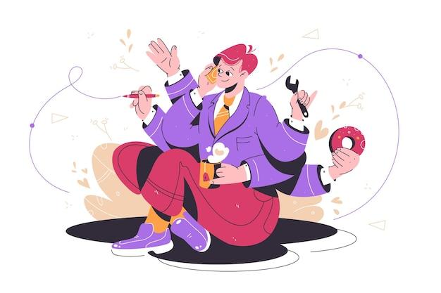 Drukke multitasking man op het werk vector illustratie effectieve zakenman praten op telefoon schrijven